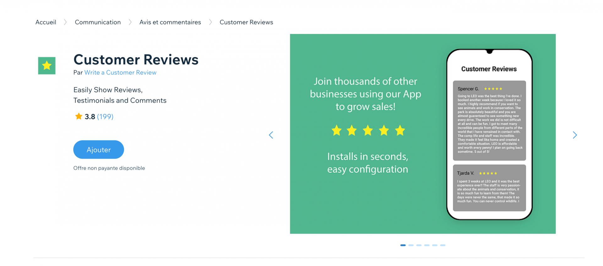 Customer Reviews Wix